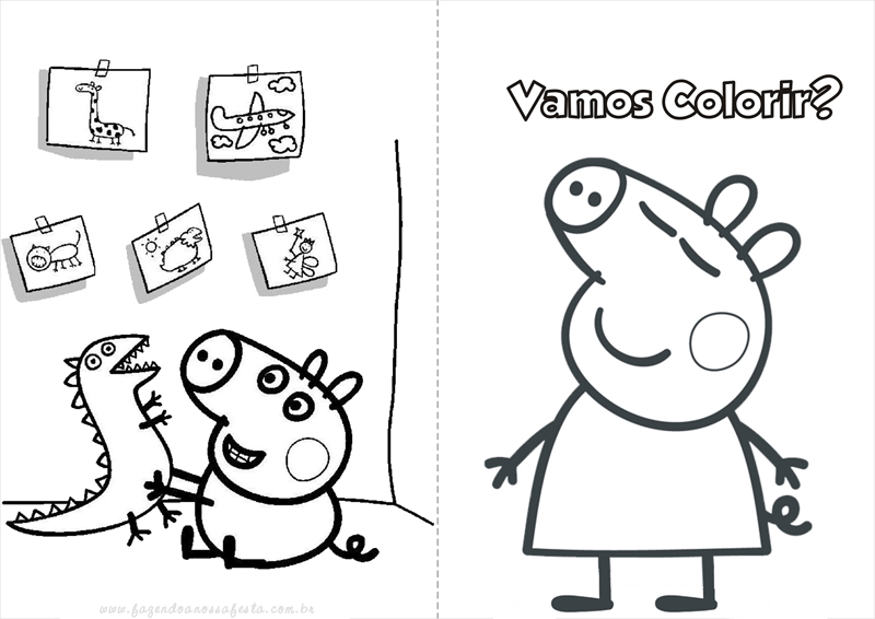 Peppa pig e george colorir